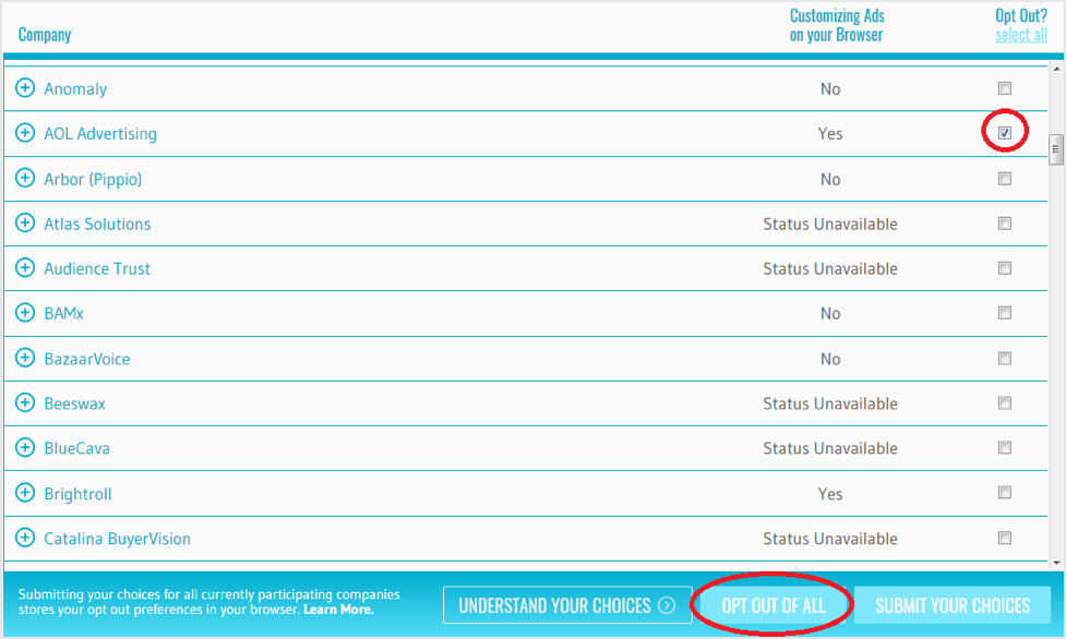YourAdChoices opt-out interface