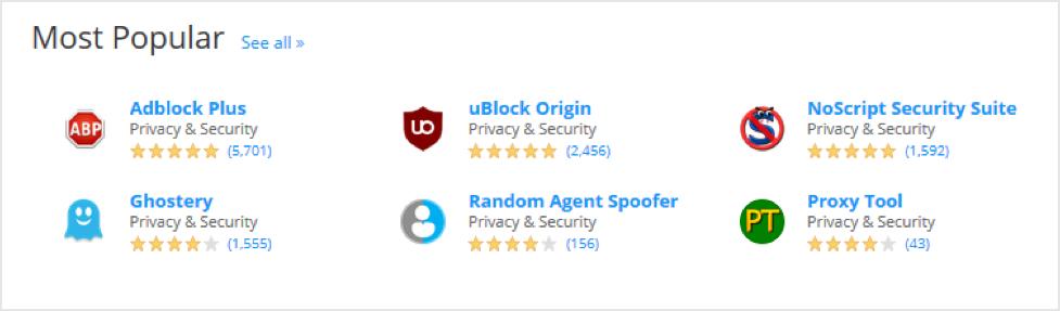 most popular ad blockers in mozilla store