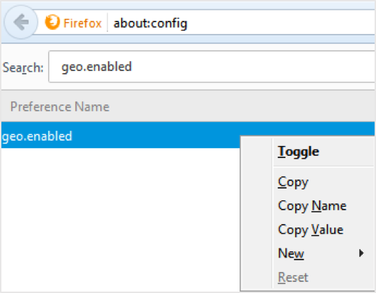 Disabling geolocation in firefox config