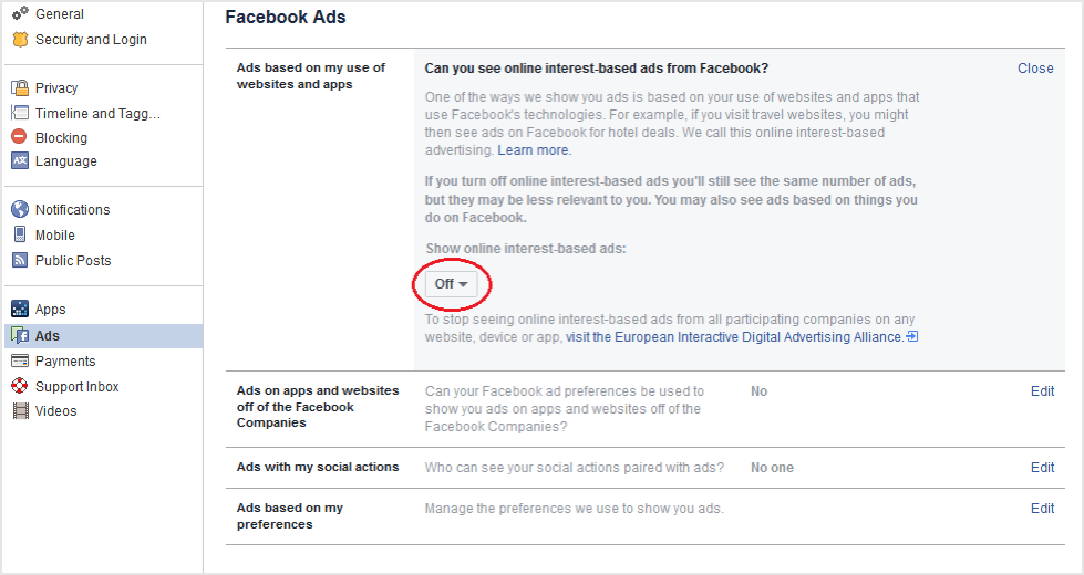 Facebook interest-based ad settings