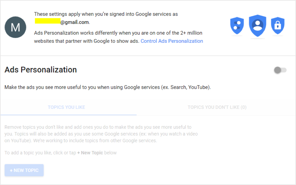 Google ad personalisation toggle